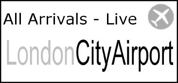 Live!!  London City Airport Arrivals Timetable showing all arrivals for today